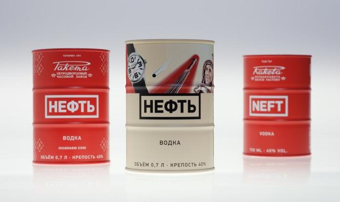 Водка Нефть - Ракета, красная бочка