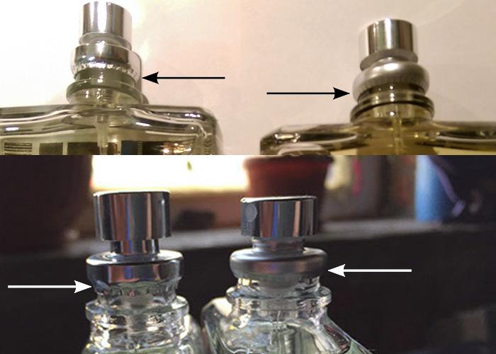 Фотографии подделки и оригинала распылителя духов Molecules