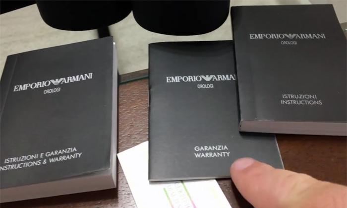 Инструкция и гарантийный талон часов Armani