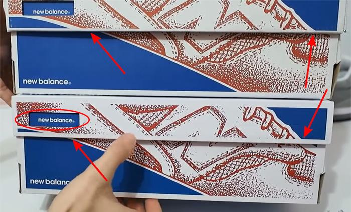 Оригинальная и поддельная коробка кроссовок New Balance.