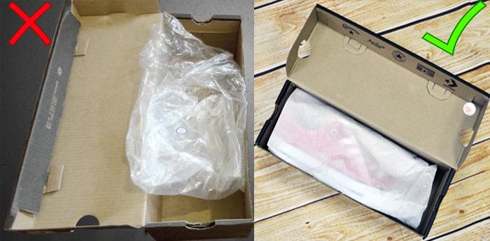 Коробка оригинальных и поддельных конверс.